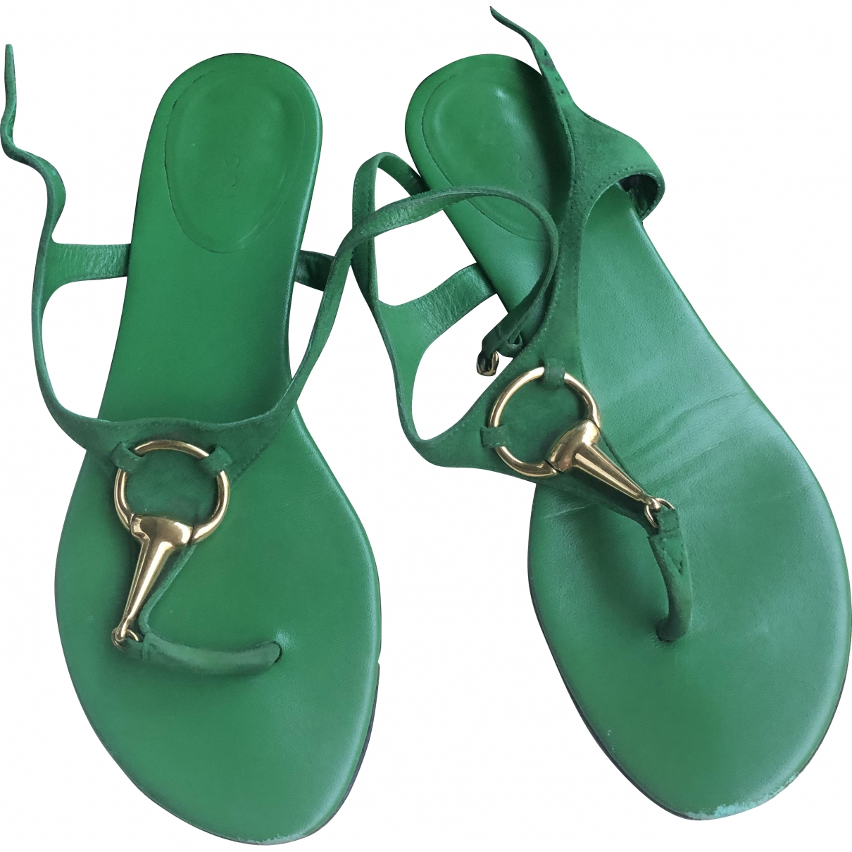 Gucci \N Green Leather Sandals for Women 37.5 EU