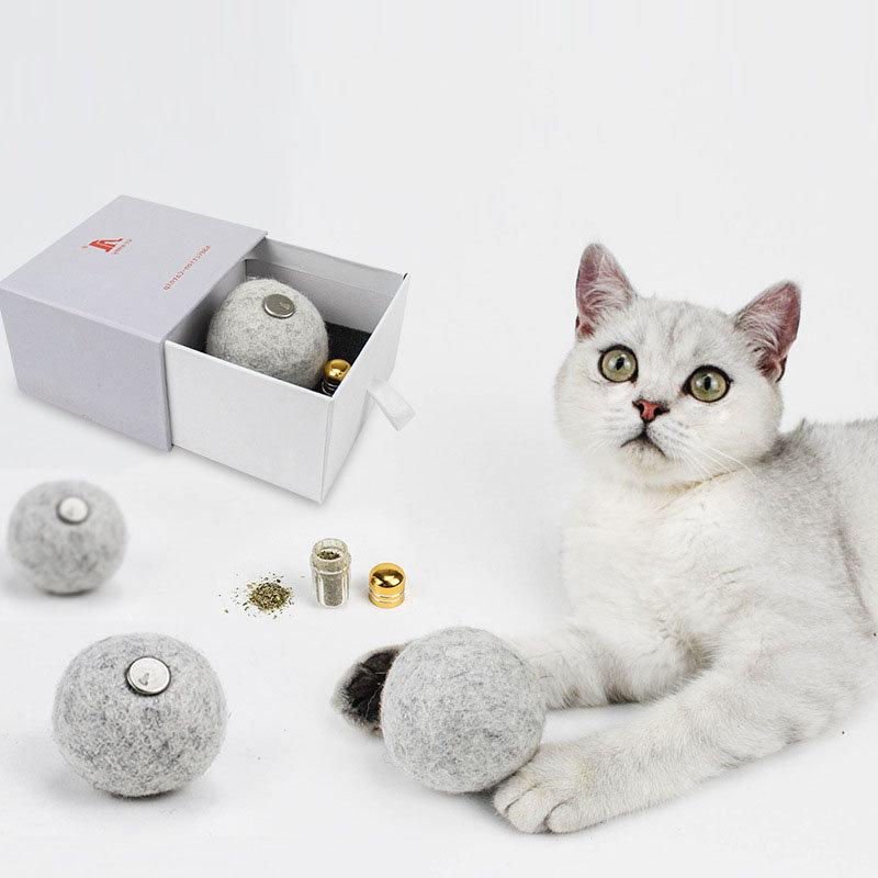 Addiction Catnip Ball Pet Cat Toys Healthy Wool Pompom Handmade Safety Msaterial