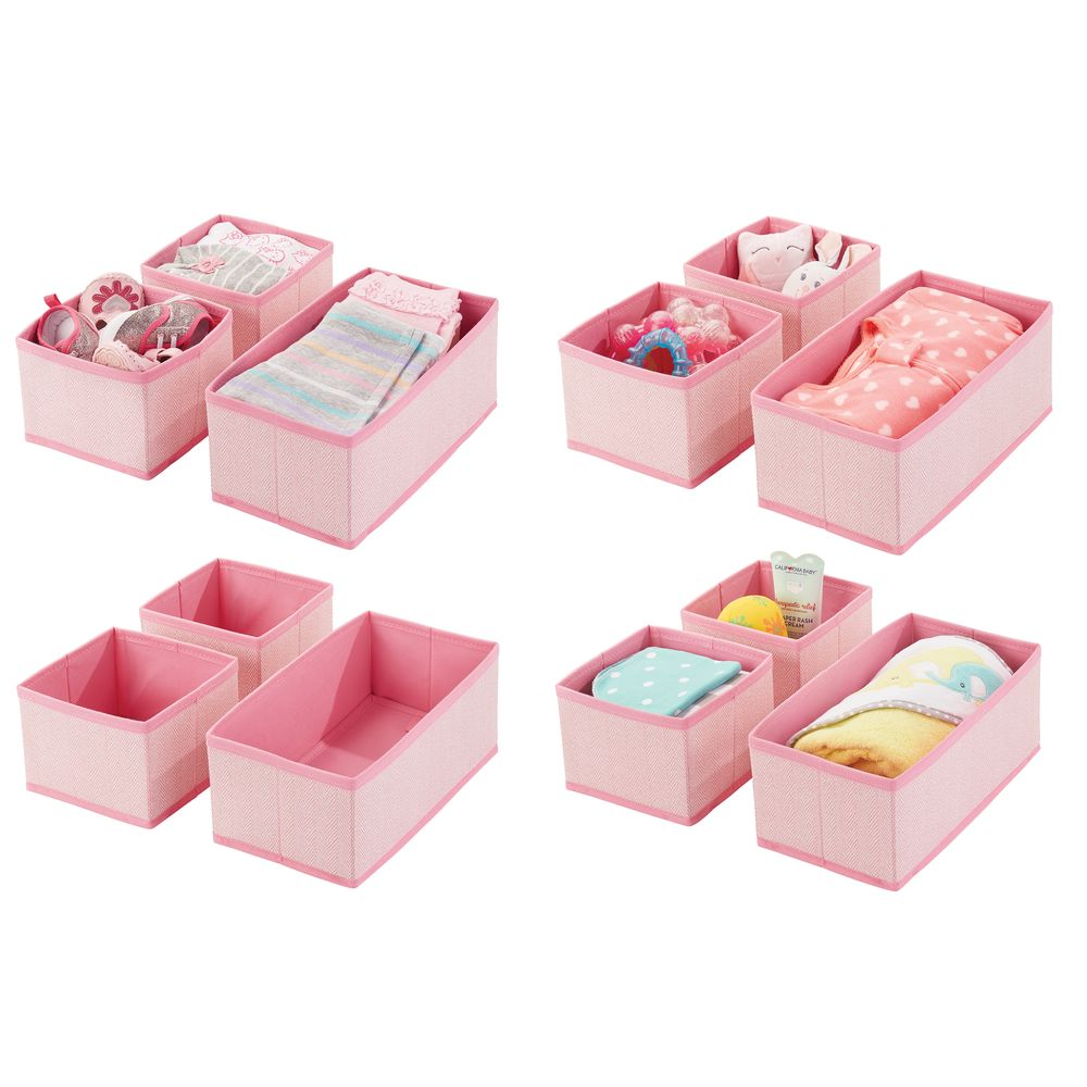 Baby + Kids Fabric Drawer Storage Organizers in Pink, Set of 12, by mDesign