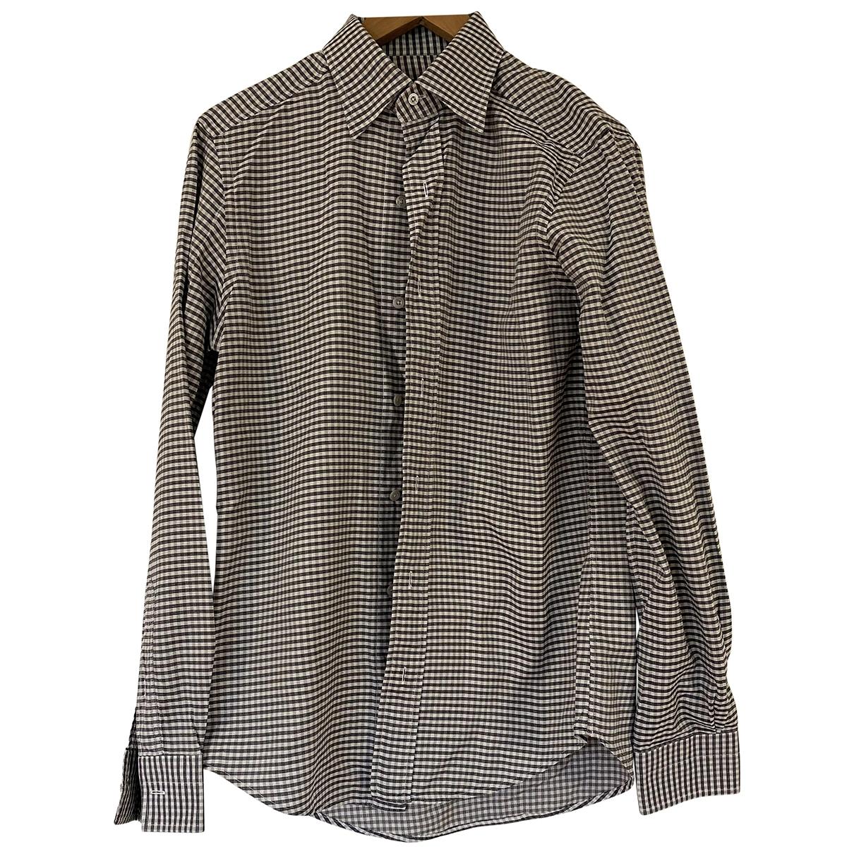 Tom Ford \N Grey Cotton Shirts for Men 39 EU (tour de cou / collar)