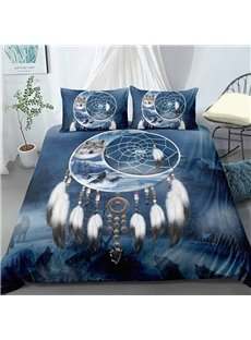3D Indian Wolf in The Moon And Dream Catcher Digital Printing Polyester 3-Piece 3D Bedding Sets No-fading Soft Duvet Covers