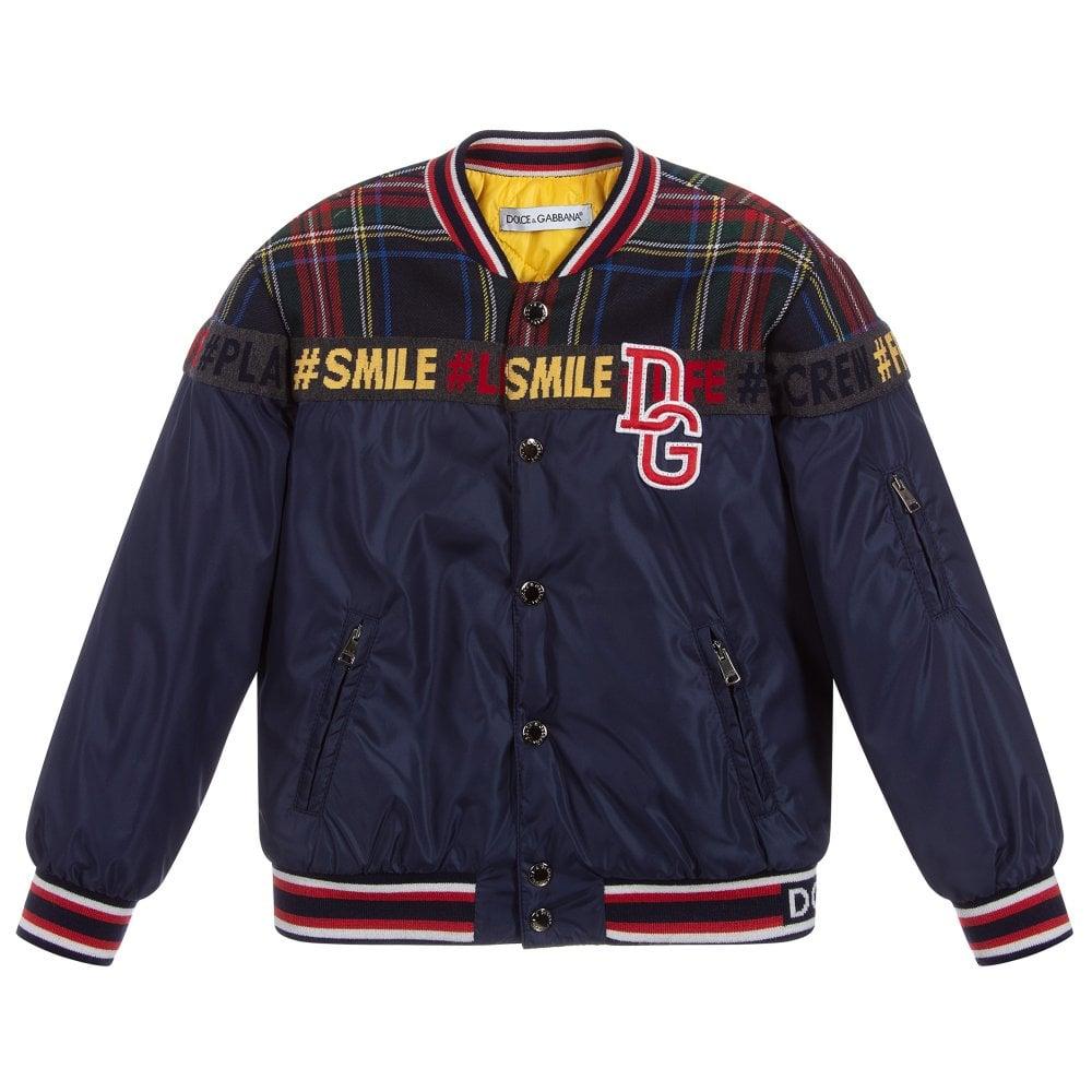 Dolce & Gabbana Kids Tartan Logo Bomber Jacket Colour: NAVY, Size: