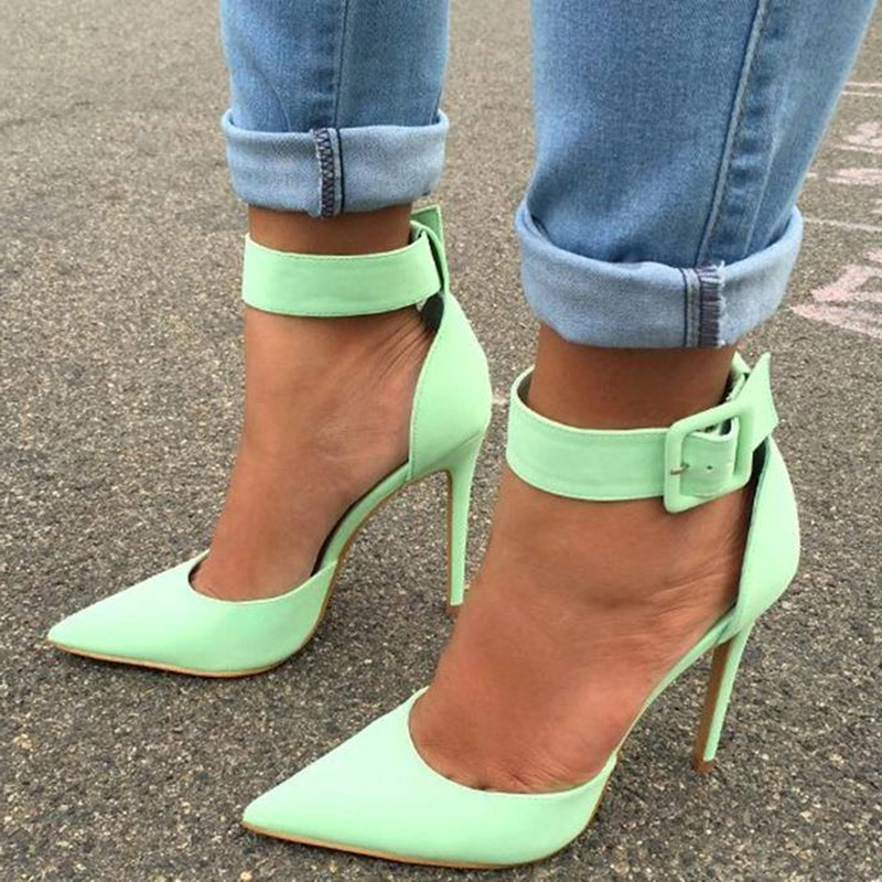 Ericdress PU Buckle Pointed Toe Stiletto Heel Women's Pumps