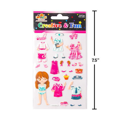 Reusable Girl Dress Up Mix & Match Puffy Stickers, 4