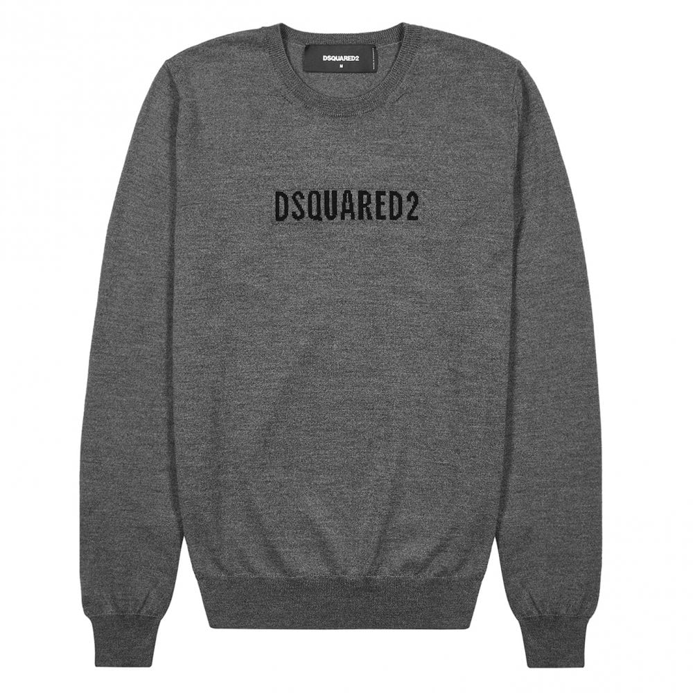 Dsquared2 Knitted Logo Jumper Colour: GREY, Size: MEDIUM