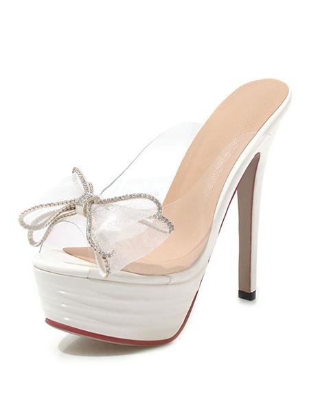 Milanoo High Heel Sandals Black Platform Open Toe Bow Backless Sandal Slippers