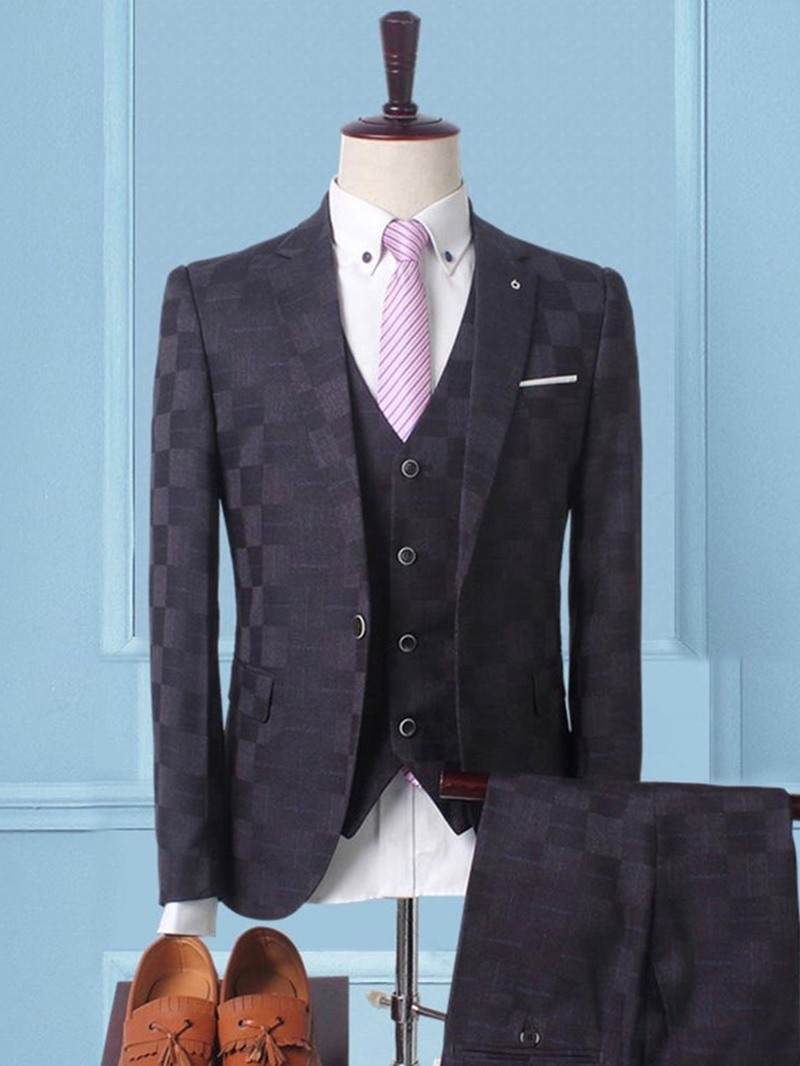 Ericdress Plaid 3 Pieces Mens Casual Business Suits