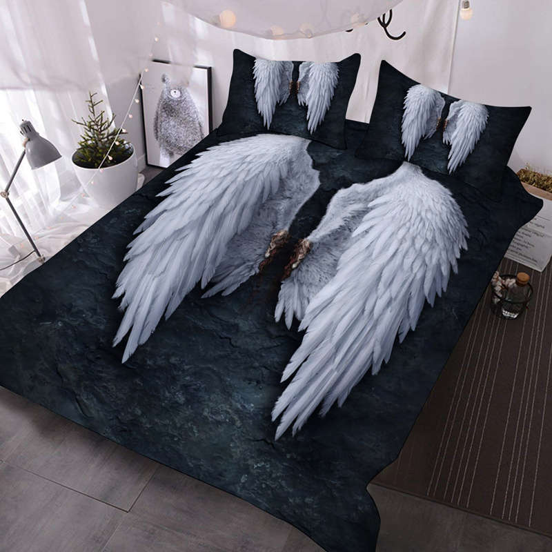 3D Angel Wings Reactive Printing 3Pcs Lightweight Comforter Set with 2 Pillow Covers Microfiber Wrinkle Fade Resistant Comforter