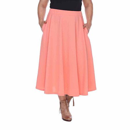 White Mark Tasmin Womens Stretch Midi Flared Skirt-Plus, 1x , Orange