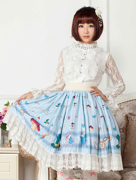Milanoo Blue Printed Lace Polyester Lolita Skirt for Girls