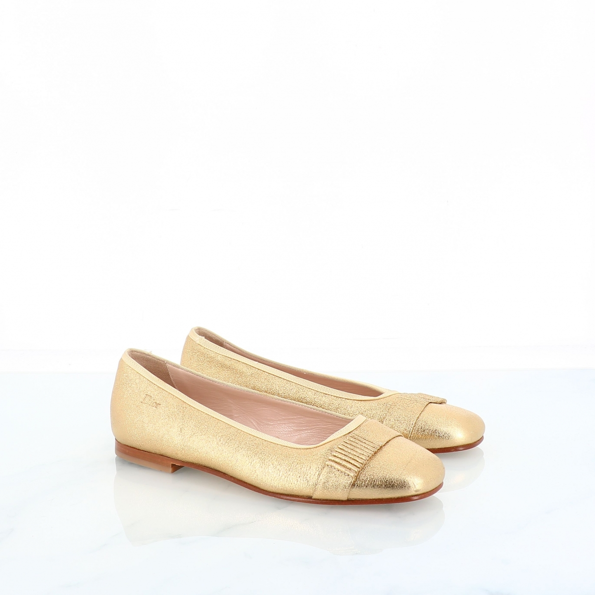 Dior \N Gold Leather Ballet flats for Women 36 EU