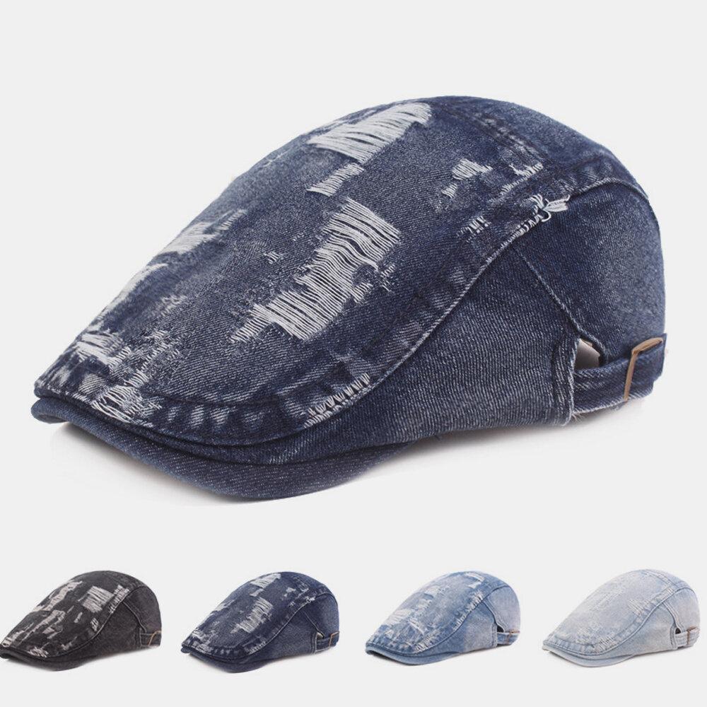 Men's Cotton Beret Washed Retro Forward Hat Simple Cap