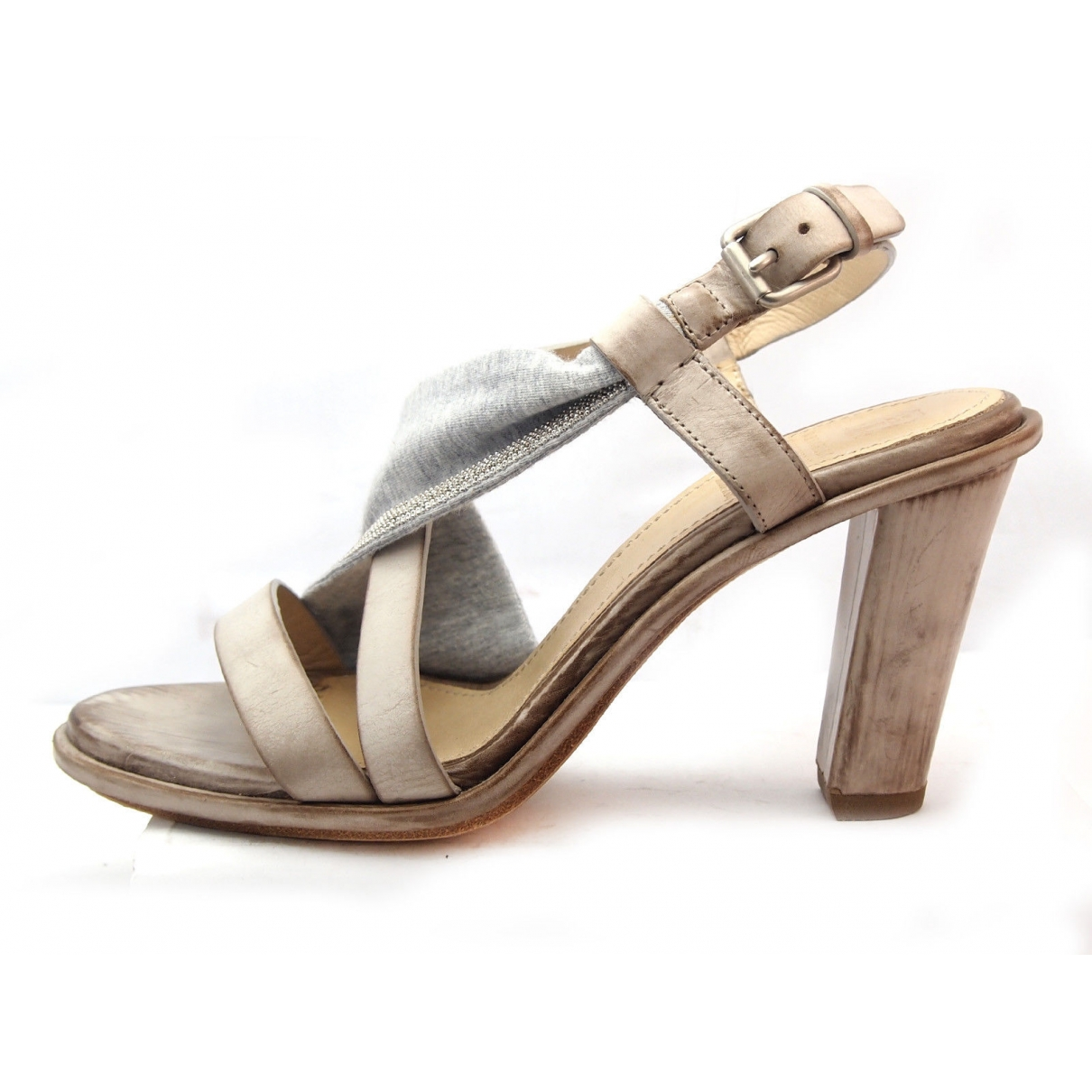 Brunello Cucinelli \N Grey Leather Sandals for Women 37 EU