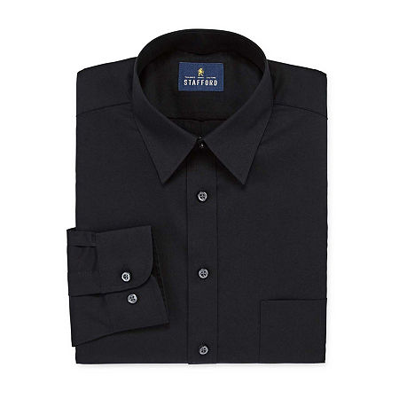 Stafford Mens Wrinkle Free Stain Resistant Stretch Super Dress Shirt, 16.5 34-35, Black