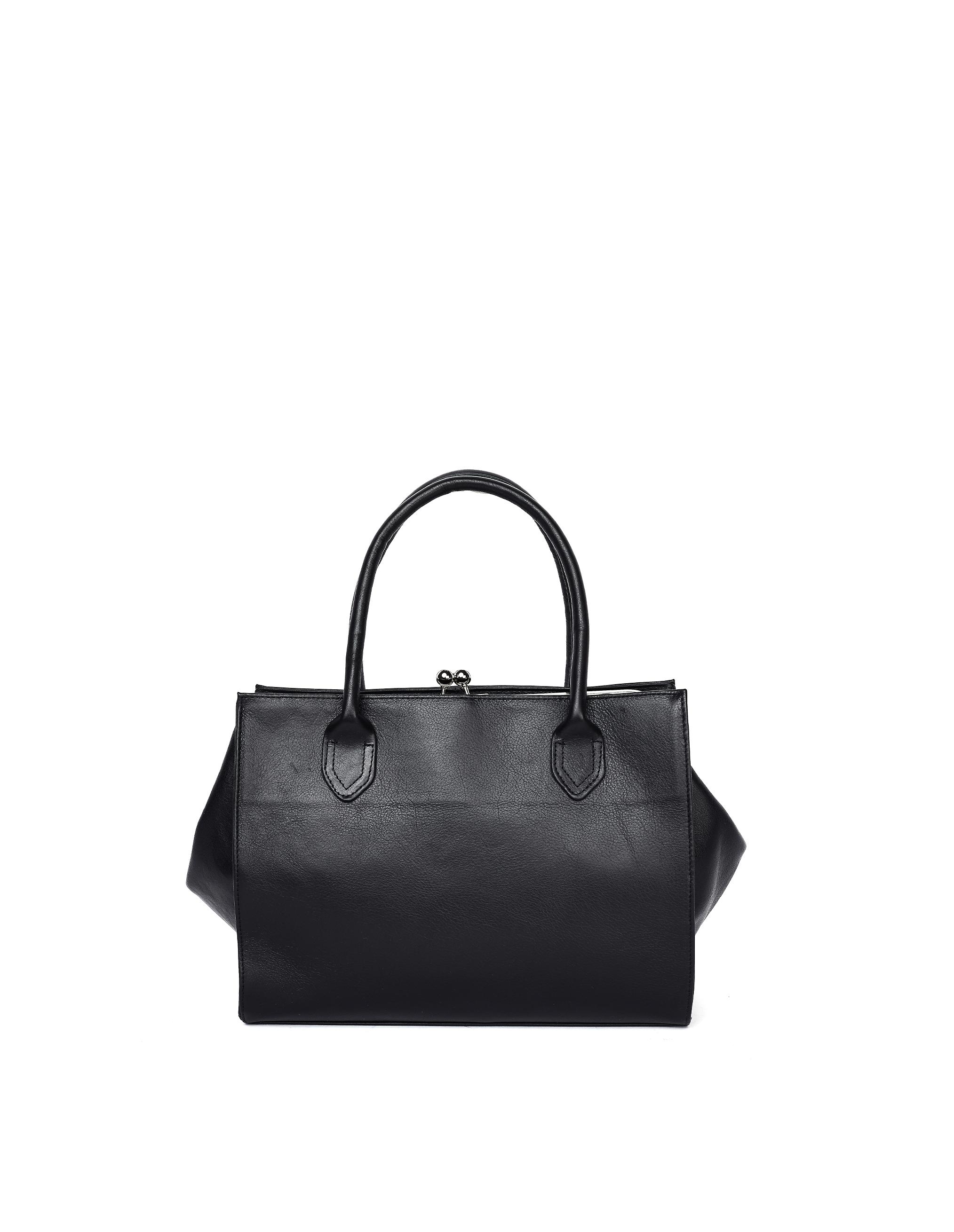 Y's Black Leather Tote Bag
