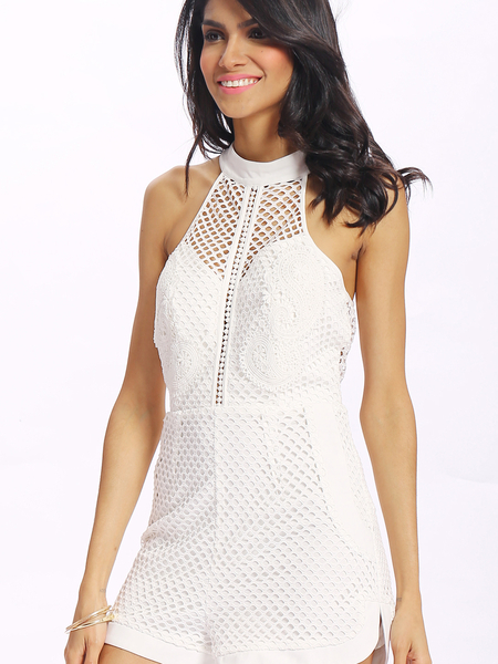 Yoins White Sleeveless Mesh and Lace Overlay Details Playsuit