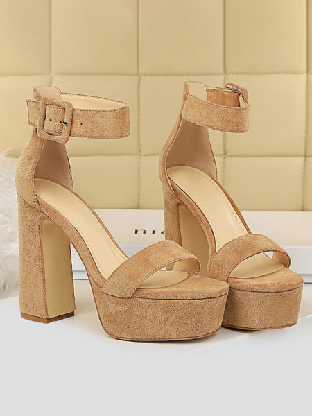 Milanoo Women Sexy Sandals Black Micro Suede Upper Round Toe Ankle Strap Platform Sexy Sandals