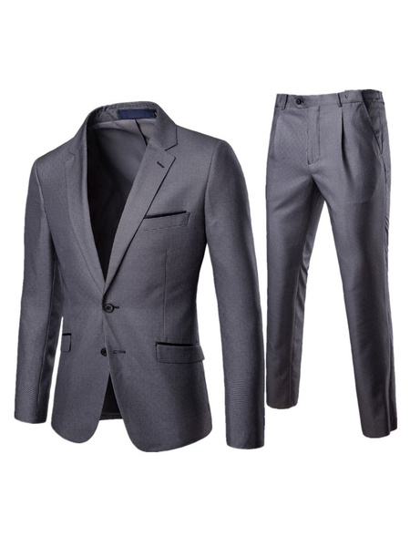 Milanoo Men Grey Suit Plus Size Notch Collar Houndstooth Pattern Two Button Blazer With Dress Pant