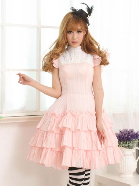 Milanoo Classic Lolita OP Dress Lace Up Ruffles Pink Two-Tone Lolita One Piece Dresses