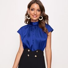 Crinkle Front Tie Back Satin Top