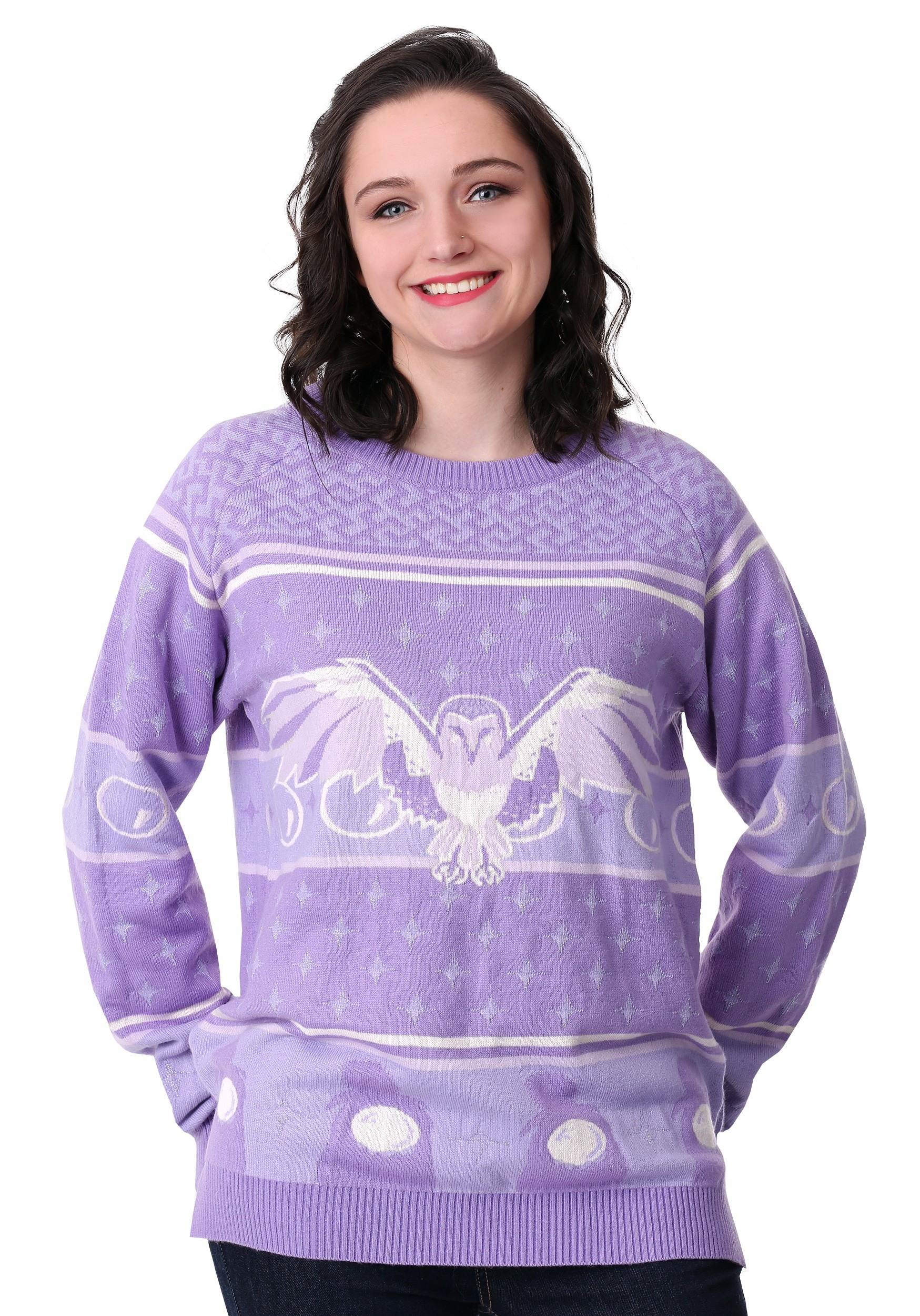 Labyrinth Owl Hi-Lo Ugly Christmas Sweater for Women