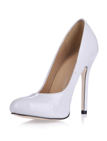 Milanoo Women White Almond Toe Patent Leather High Heels Party Heeled Shoes