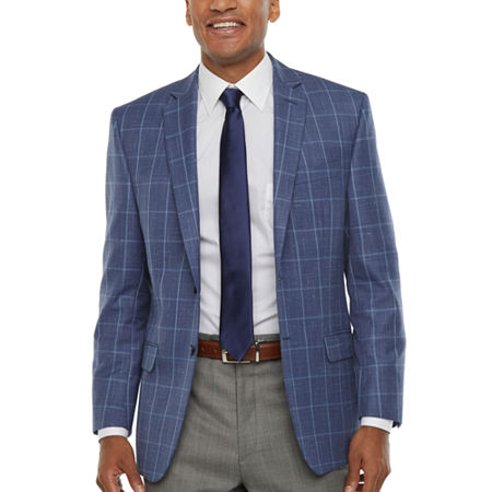 Collection By Michael Strahan Mens Windowpane Classic Fit Sport Coat, 48 Regular, Blue