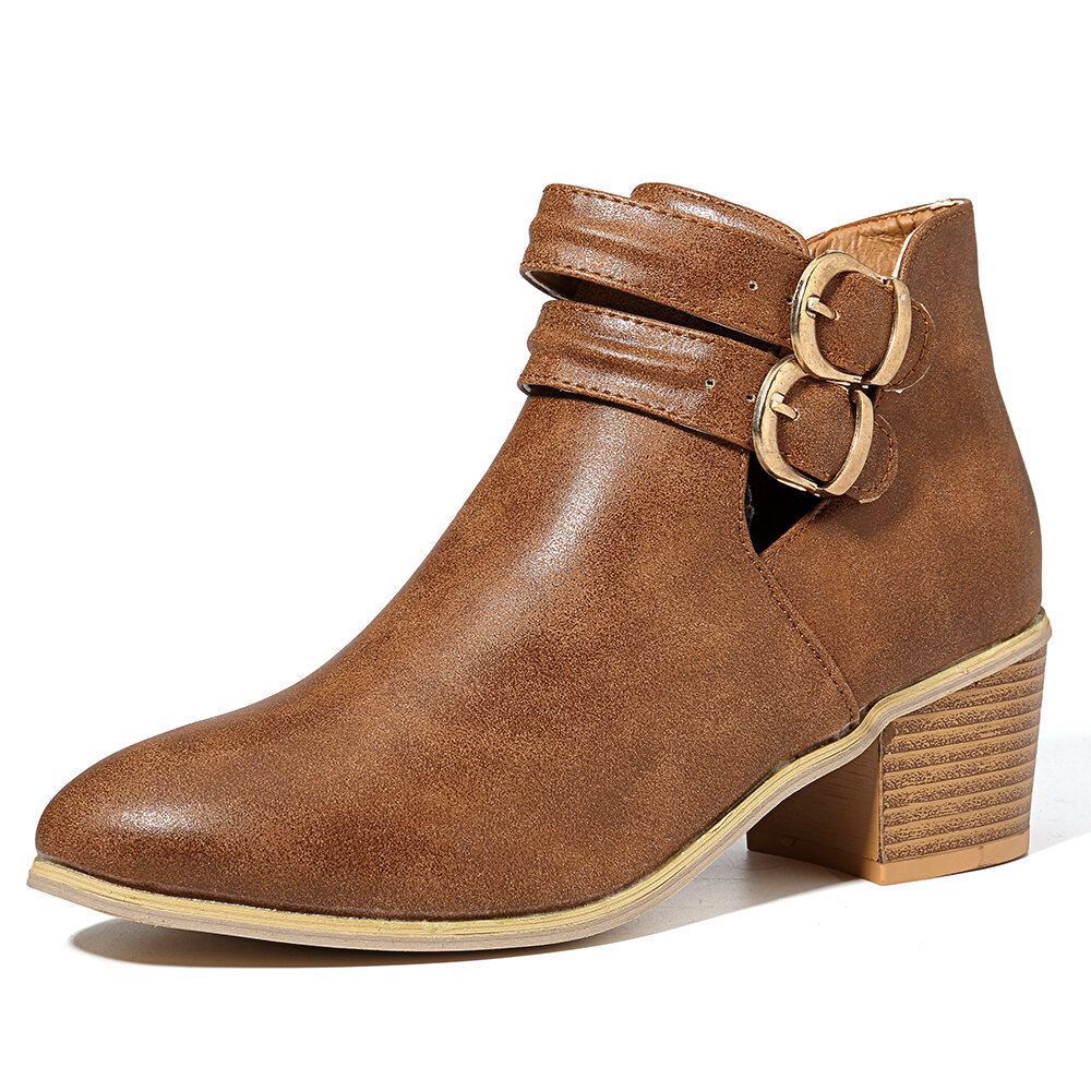 Large Size Metal Almond Toe Buckle Chunky Heel Ankle Boots
