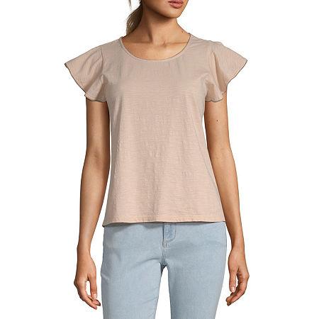 a.n.a-Tall Womens Pico Edged T-Shirt, Medium Tall , Pink