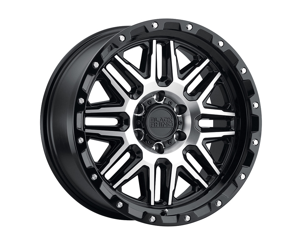 Black Rhino Alamo Wheel 17x9 16x20 12mm Gloss Black w/ Machined Face and Stainless Bolts