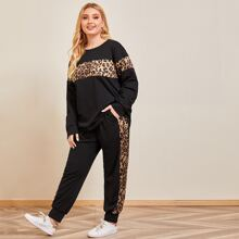 Plus Contrast Leopard Print Sweatshirt & Sweatpants