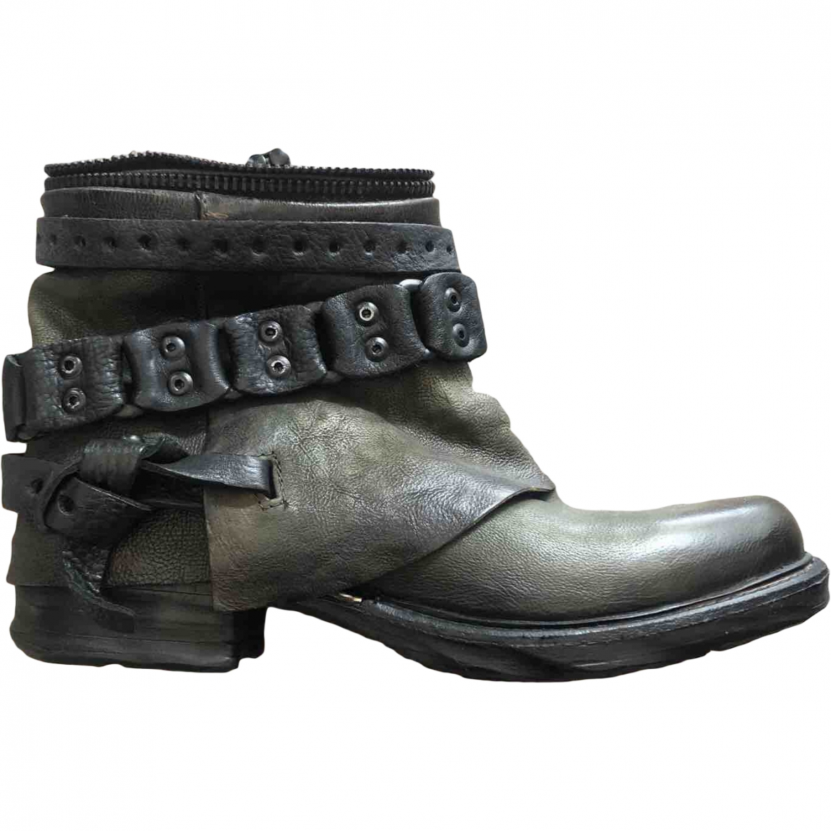 A.s.98 \N Green Leather Boots for Women 35 EU