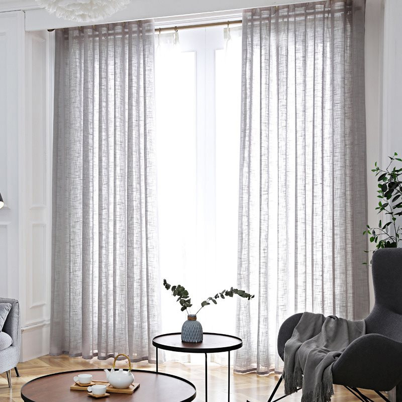 Nordic Simple Style Cambric Plain Custom Sheer Curtains for Living Room Bedroom No Pilling No Fading No off-lining and Good Privacy