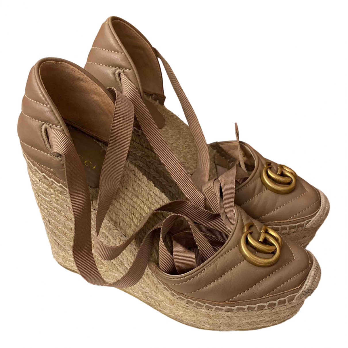 Gucci \N Beige Leather Sandals for Women 37.5 EU