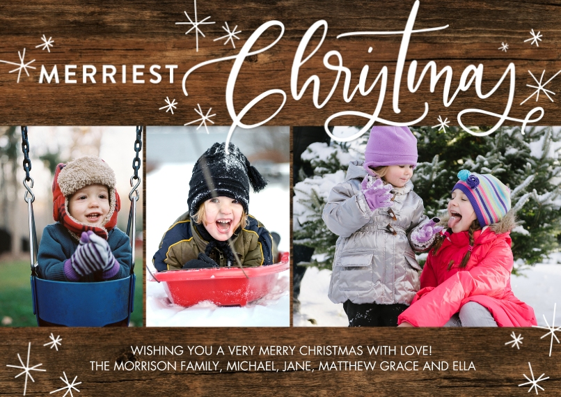 Christmas Photo Cards 5x7 Cards, Standard Cardstock 85lb, Card & Stationery -Christmas Merriest Stars by Tumbalina