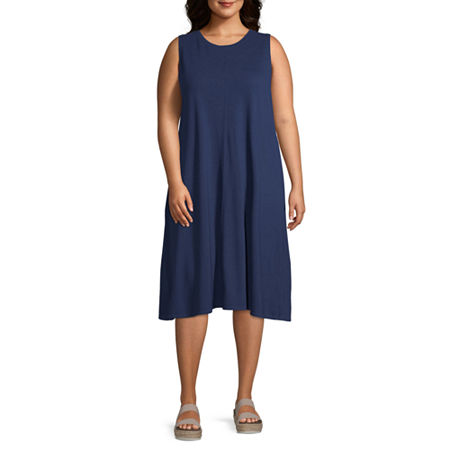a.n.a-Plus Sleeveless Sheath Dress, 4x , Blue