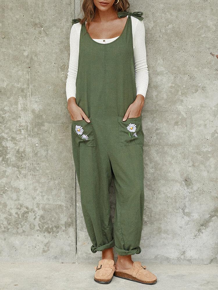 Daisy Pirnt Sleeveless Straight Casual Tie Plus Size Jumpsuit