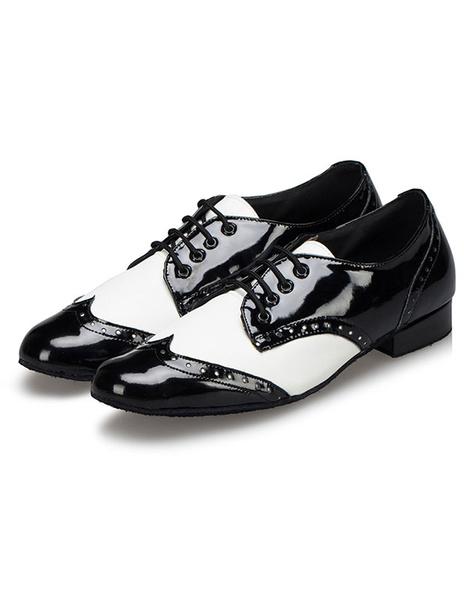 Milanoo Men's Dance Shoes Lace Up Puppy Ballroom Shoes