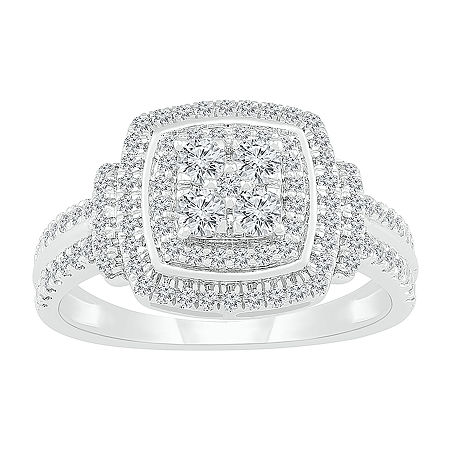 Womens 3/4 CT. T.W. Genuine White Diamond 10K White Gold Cocktail Ring, 8 , No Color Family