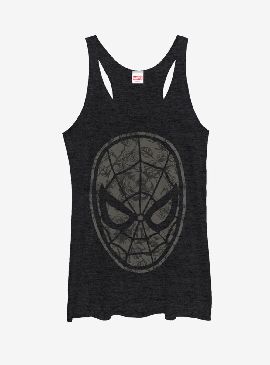 Marvel Spider-Man Grayscale Floral Print Womens Tank