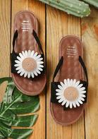 Summer Daisy Round Toe Flip Flop Slippers