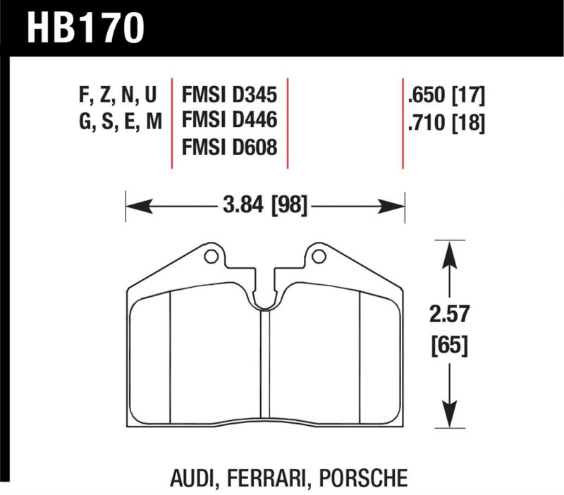 Hawk Performance HB170U.710 Disc Brake Pad Ferrari