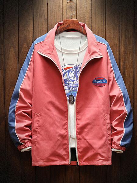 Milanoo Men\\'s Full Zip Jackets Color Block Stand Collar Jackets For Spring