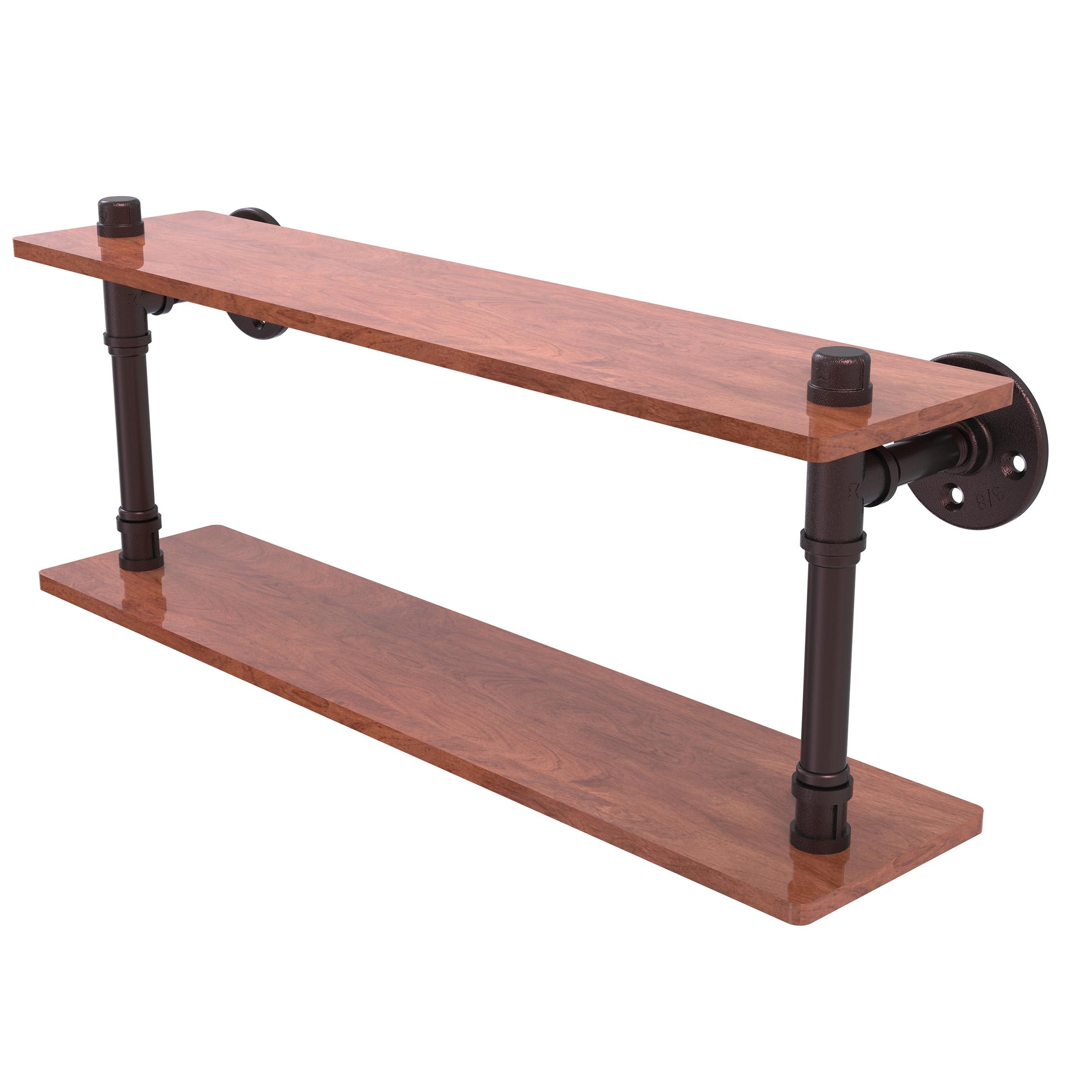 22 Ironwood Double Shelf, Antique Bronze Finish