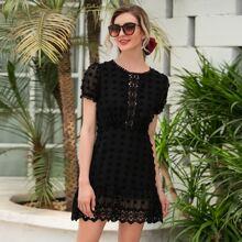 Lace Panel Swiss Dot A-line Dress