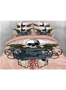 Imprisoned Skull With Bat Wings 3D Printed 4-Piece Cotton Bedding Sets/Duvet Covers