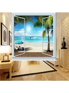 Peaceful Beach out of the Window 3D Printing Blackout Roller Shades