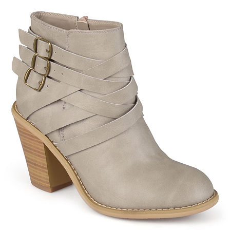 Journee Collection Womens Strap Booties Stacked Heel, 9 Wide, Gray
