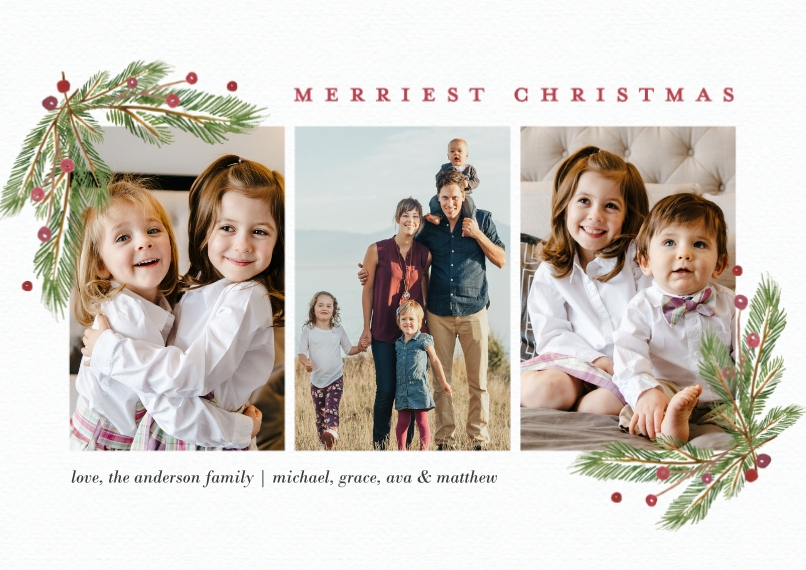 Christmas Photo Cards 5x7 Cards, Premium Cardstock 120lb, Card & Stationery -Christmas Evergreen Berries