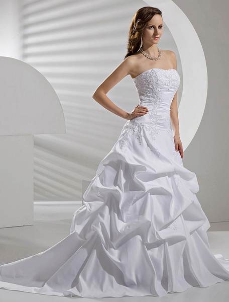 Milanoo White Wedding Dresses Taffeta Dropped Waist Ruched Bridal Gown Strapless Lace Applique Beading Court Train Bridal Dress